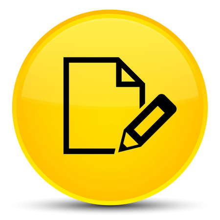 Edit document icon isolated on special yellow round button abstract illustration