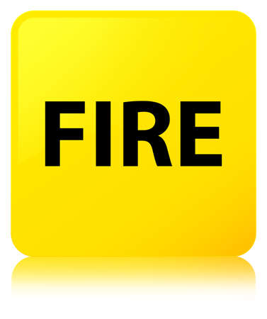 Fire isolated on yellow square button reflected abstract illustration