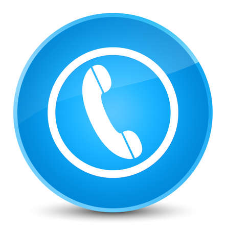 Phone icon isolated on elegant cyan blue round button abstract illustration Stock Photo
