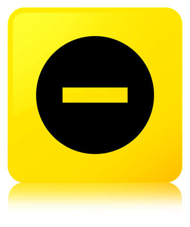 Cancel icon isolated on yellow square button reflected abstract illustration