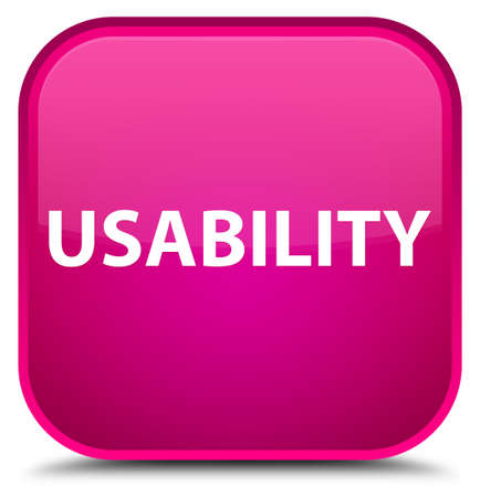 Usability isolated on special pink square button abstract illustration