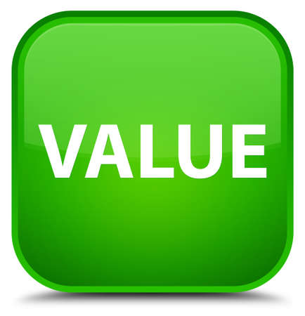 Value isolated on special green square button abstract illustration Reklamní fotografie