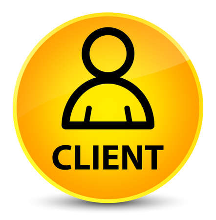 Client (member icon) isolated on elegant yellow round button abstract illustration