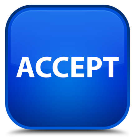 Accept isolated on special blue square button abstract illustration Stok Fotoğraf