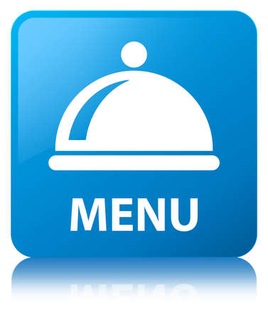 Menu (food dish icon) isolated on cyan blue square button reflected abstract illustration