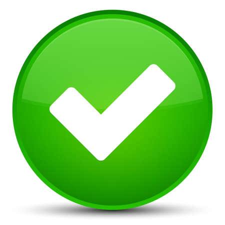 Valider l'icône isolé sur l'illustration abstraite de bouton rond vert spécial Banque d'images