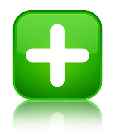 Plus icon isolated on special green square button reflected abstract illustration