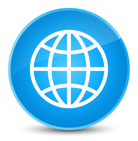 World icon isolated on elegant cyan blue round button abstract illustration