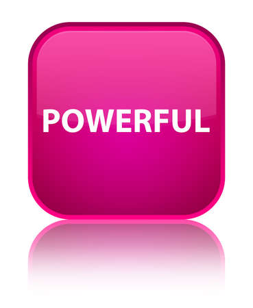 Powerful isolated on special pink square button reflected abstract illustration