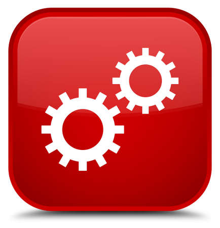 Process icon isolated on special red square button abstract illustration