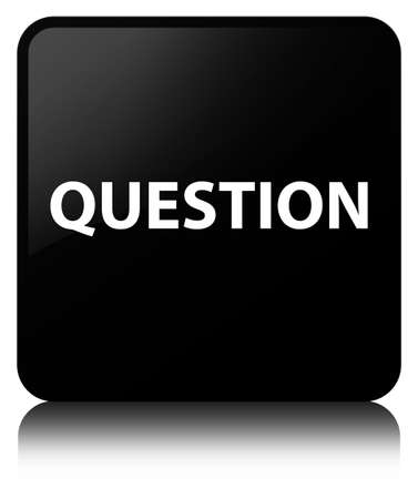 Question isolated on black square button reflected abstract illustration Stock Photo