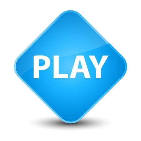 Play isolated on elegant cyan blue diamond button abstract illustration Stock Photo