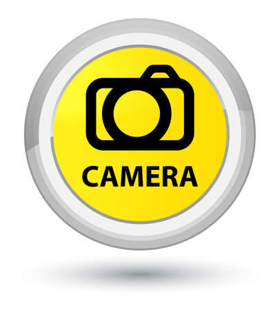 Camera isolated on prime yellow round button abstract illustration