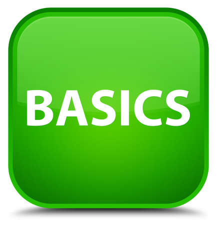 Basics isolated on special green square button abstract illustration
