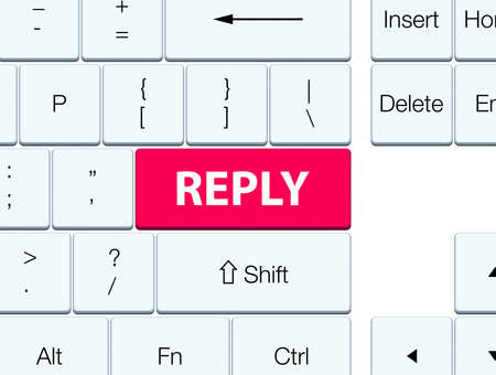 Reply isolated on pink keyboard button abstract illustration Stock Photo