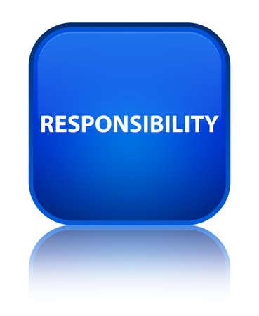 De verantwoordelijkheid op speciale blauwe vierkante knoop wordt geïsoleerd wees op abstracte illustratie die
