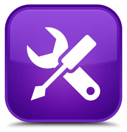 Settings icon isolated on special purple square button abstract illustration