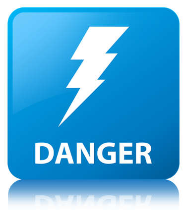 Danger (electricity icon) isolated on cyan blue square button reflected abstract illustration Stock Photo