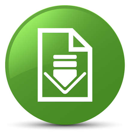 Download document icon isolated on soft green round button abstract illustration