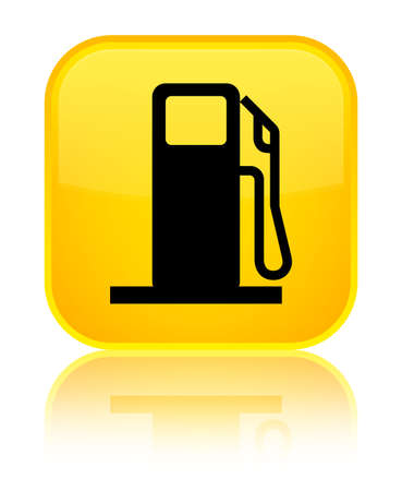petrol pump: Fuel dispenser icon isolated on special yellow square button reflected abstract illustration