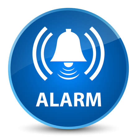 Alarm (bell icon) isolated on elegant blue round button abstract illustration
