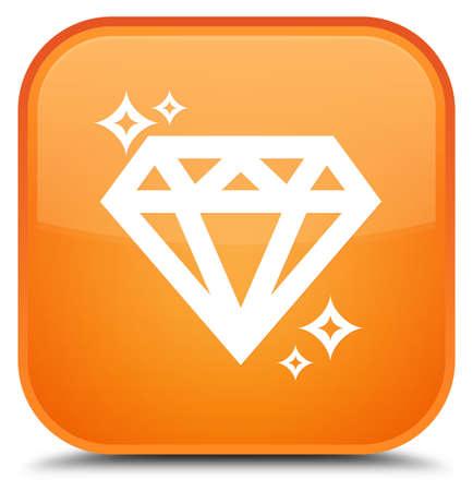 특별 한 오렌지 사각형 단추 추상적 인 그림에 절연 다이아몬드 아이콘