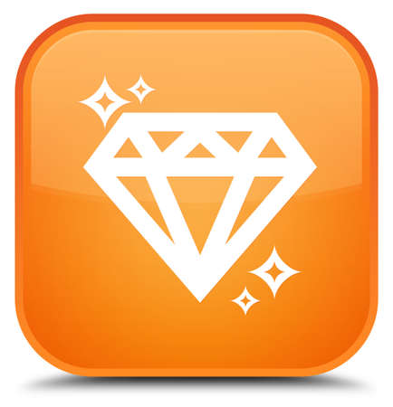 Diamond icon isolated on special orange square button abstract illustration