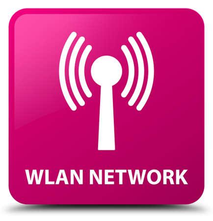 Réseau wlan isolé sur le bouton carré rose illustration abstraite Banque d'images - 88860106