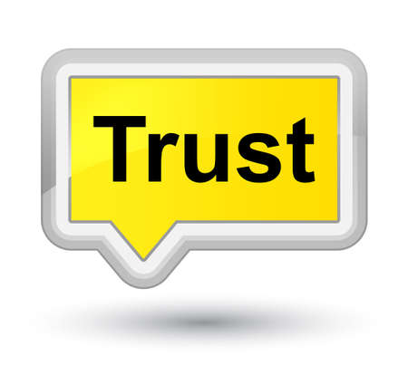 Trust isolated on prime yellow banner button abstract illustration Stock Photo