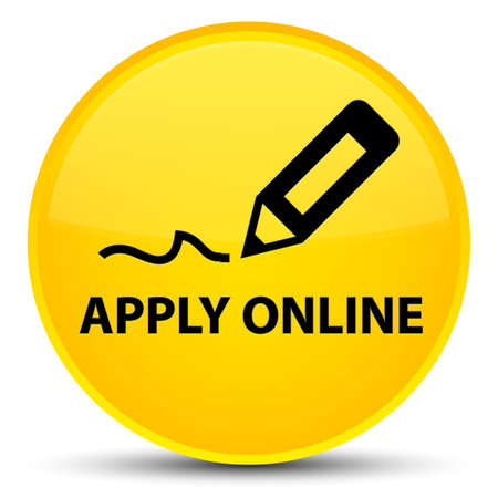 Apply online (edit pen icon) isolated on special yellow round button abstract illustration