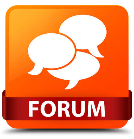 Forum (comments icon) isolated on orange square button with red ribbon in middle abstract illustration Stock Photo