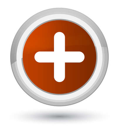 Plus icon isolated on prime brown round button abstract illustration