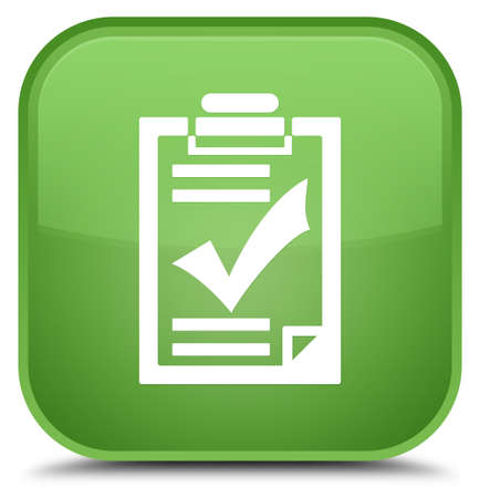 Checklist icon isolated on special soft green square button abstract illustration Stock Photo