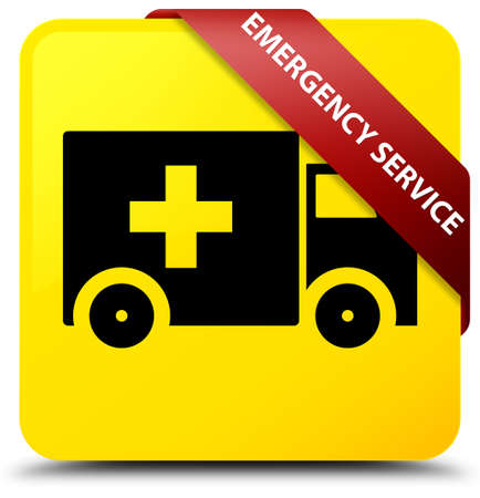 Emergency service isolated on yellow square button with red ribbon in corner abstract illustration Stock Photo