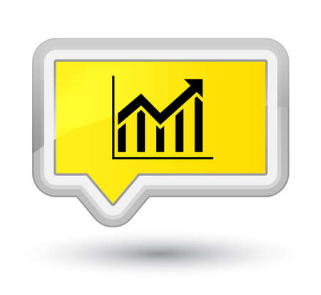 Statistics icon isolated on prime yellow banner button abstract illustration