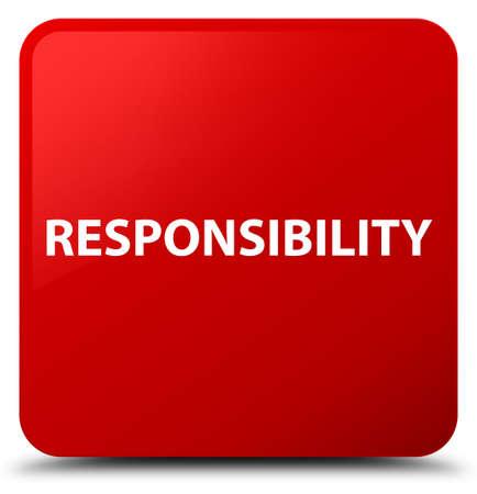 Verantwoordelijkheid op rode vierkante knoop abstracte illustratie die wordt geïsoleerd