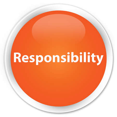 Responsibility isolated on premium orange round button abstract illustration Stock Photo