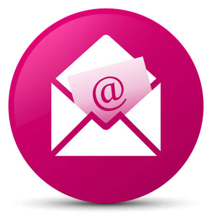 Newsletter email icon isolated on pink round button abstract illustration