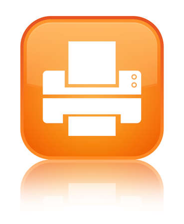 Printer icon isolated on special orange square button reflected abstract illustration