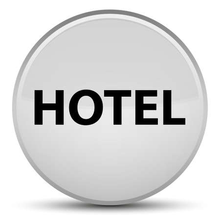 Hotel isolated on special white round button abstract illustration