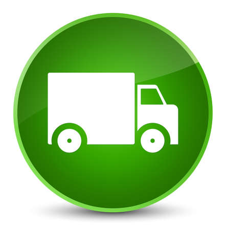 lorries: Delivery truck icon isolated on elegant green round button abstract illustration