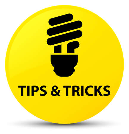Tips and tricks (bulb icon) isolated on yellow round button abstract illustration Stock Photo