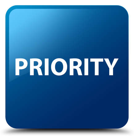 Priority isolated on blue square button abstract illustration Фото со стока
