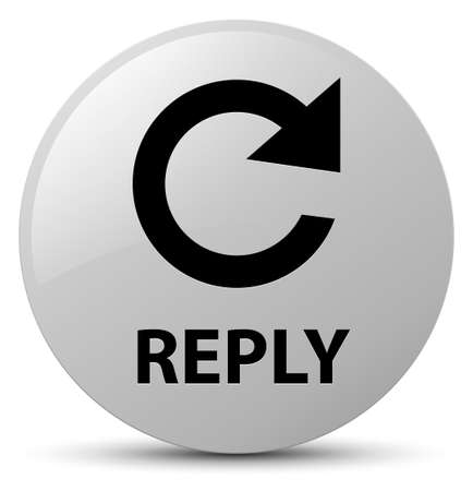 Reply (rotate arrow icon) isolated on white round button abstract illustration