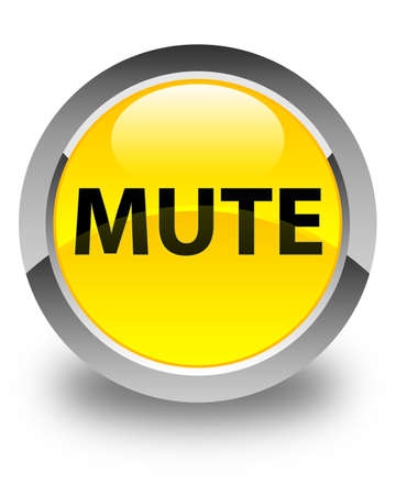 Mute isolated on glossy yellow round button abstract illustration Stock Photo