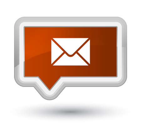 prime: Email icon isolated on prime brown banner button abstract illustration