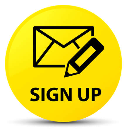 Sign up (edit mail icon) isolated on yellow round button abstract illustration