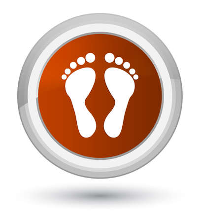 Footprint icon isolated on prime brown round button abstract illustration Stock Photo