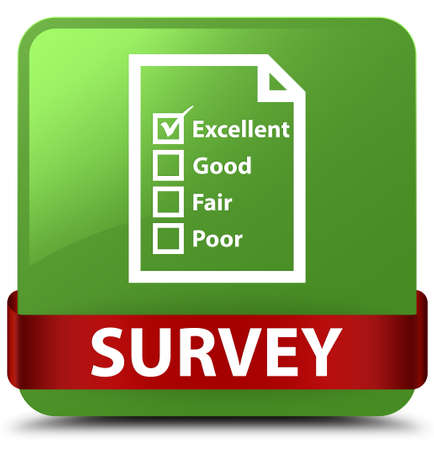 Survey (questionnaire icon) isolated on soft green square button with red ribbon in middle abstract illustration