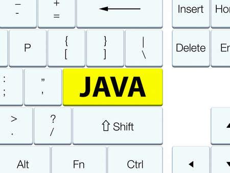 黄色のキーボード ボタンの抽象的なイラストに分離された Java 写真素材